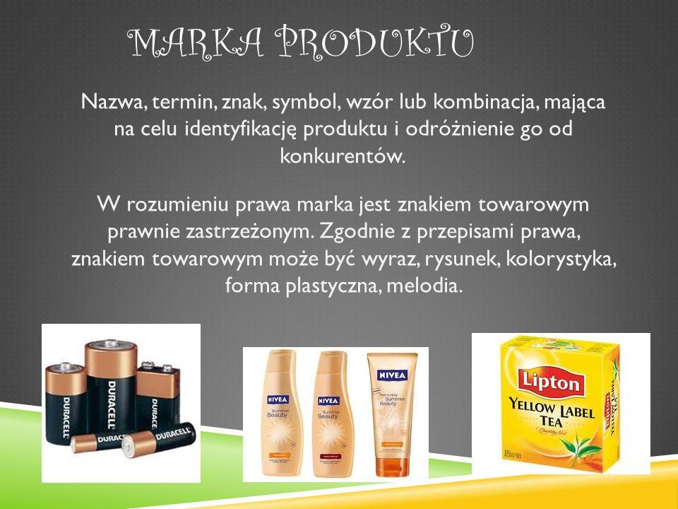MARKA PRODUKTU Nazwa, termin, znak, symbol, wzór lub kombinacja, mająca na celu identyfikację produktu i odróżnienie go od konkurentów.