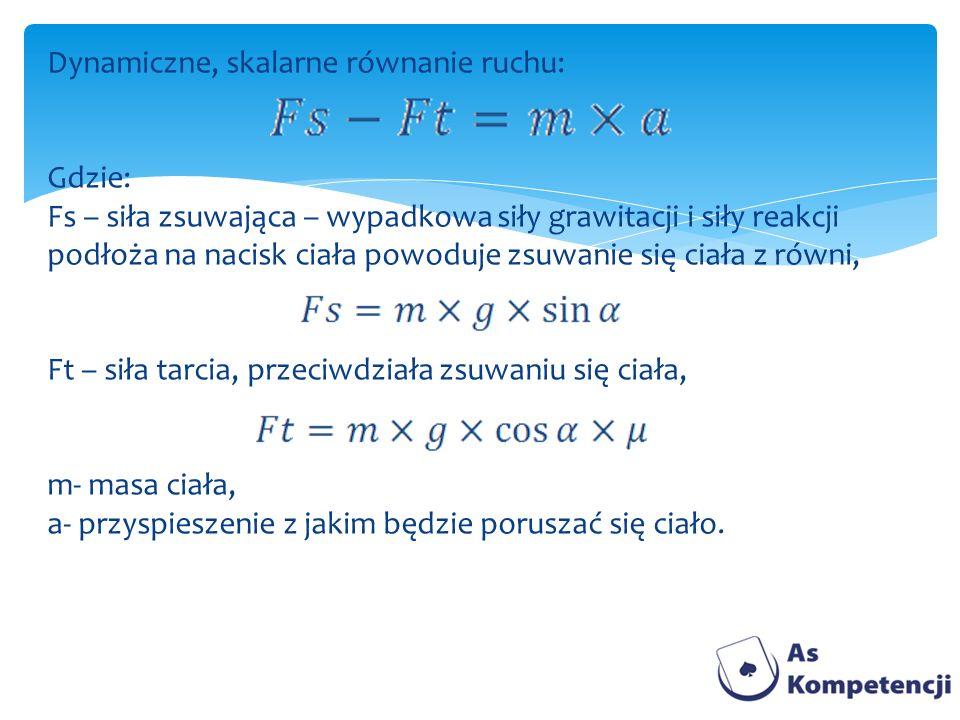 Dynamiczne, skalarne równanie ruchu: