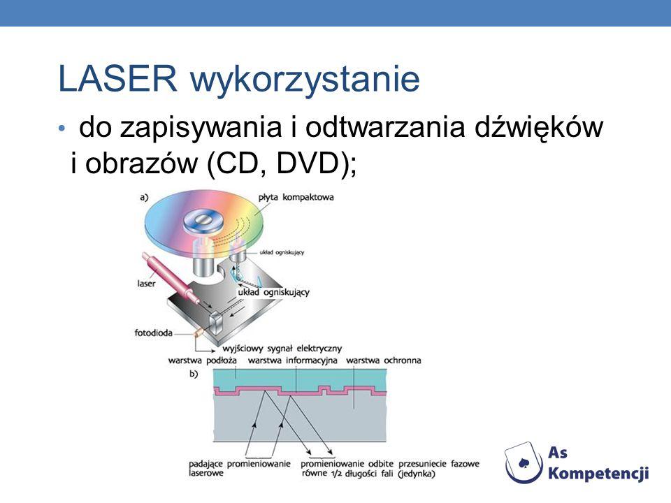 LASER wykorzystanie do zapisywania i odtwarzania dźwięków i obrazów (CD, DVD);