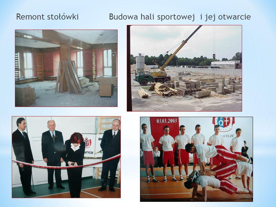 Remont stołówki Budowa hali sportowej i jej otwarcie