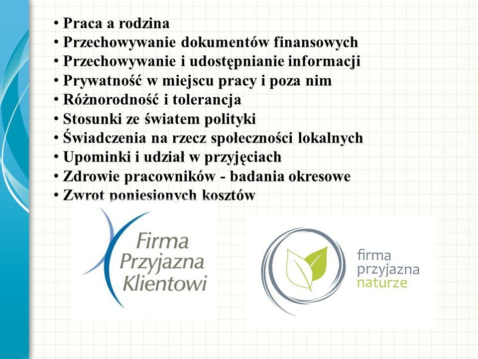 Praca a rodzina Przechowywanie dokumentów finansowych. Przechowywanie i udostępnianie informacji. Prywatność w miejscu pracy i poza nim.