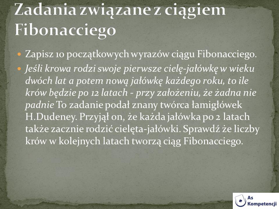 Zadania związane z ciągiem Fibonacciego