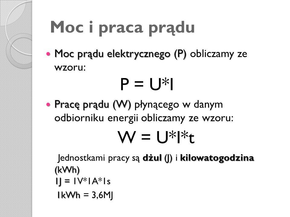 W = U*I*t Moc i praca prądu