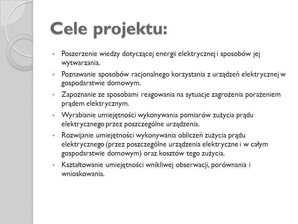 Cele projektu: Poszerzenie wiedzy dotyczącej energii elektrycznej i sposobów jej wytwarzania.