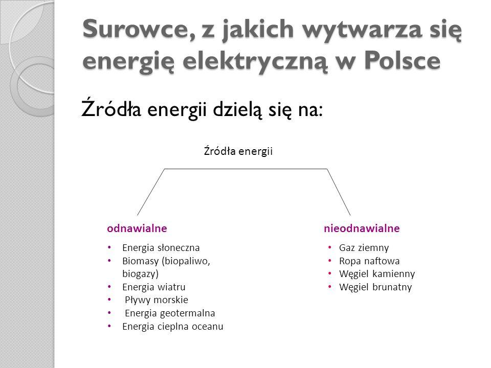 Surowce, z jakich wytwarza się energię elektryczną w Polsce