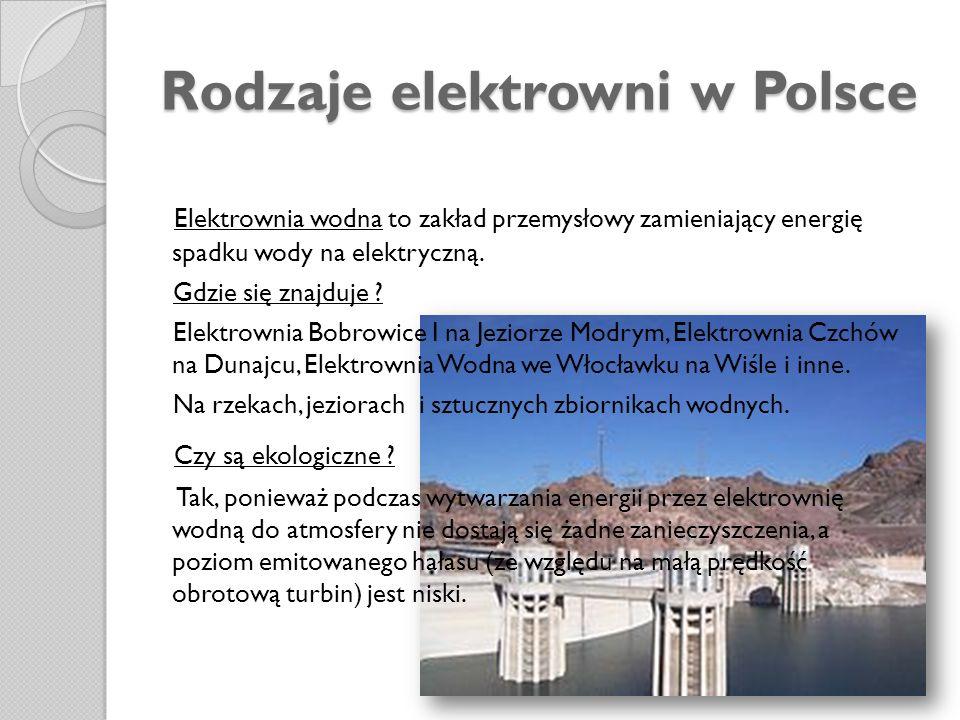 Rodzaje elektrowni w Polsce
