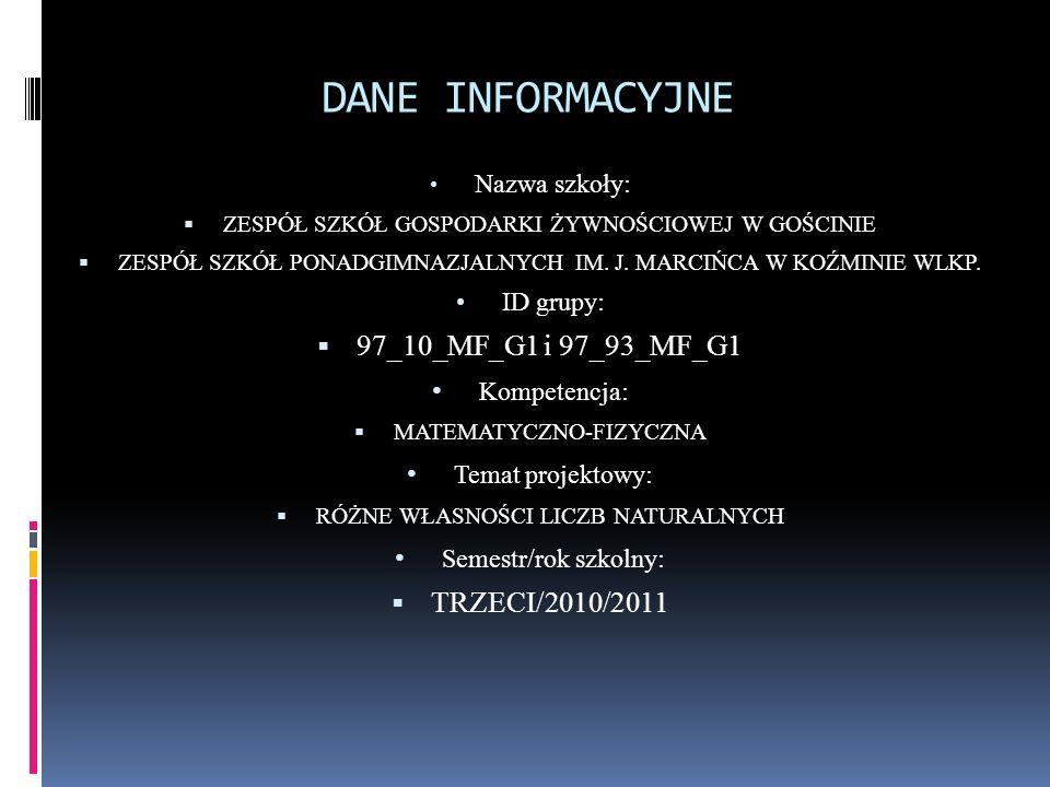 DANE INFORMACYJNE 97_10_MF_G1 i 97_93_MF_G1 Kompetencja: