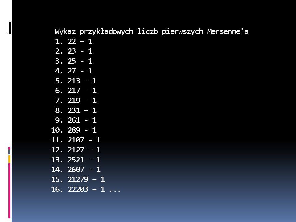 Wykaz przykładowych liczb pierwszych Mersenne a