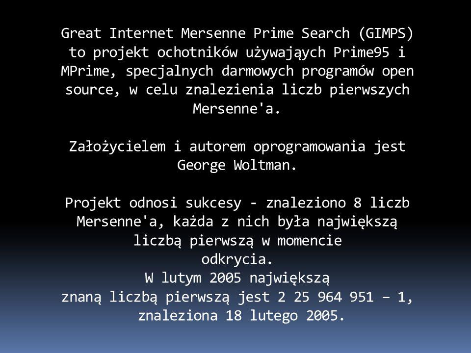 Założycielem i autorem oprogramowania jest George Woltman.