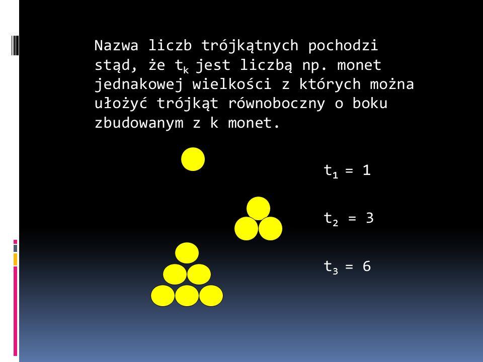 Nazwa liczb trójkątnych pochodzi stąd, że tk jest liczbą np