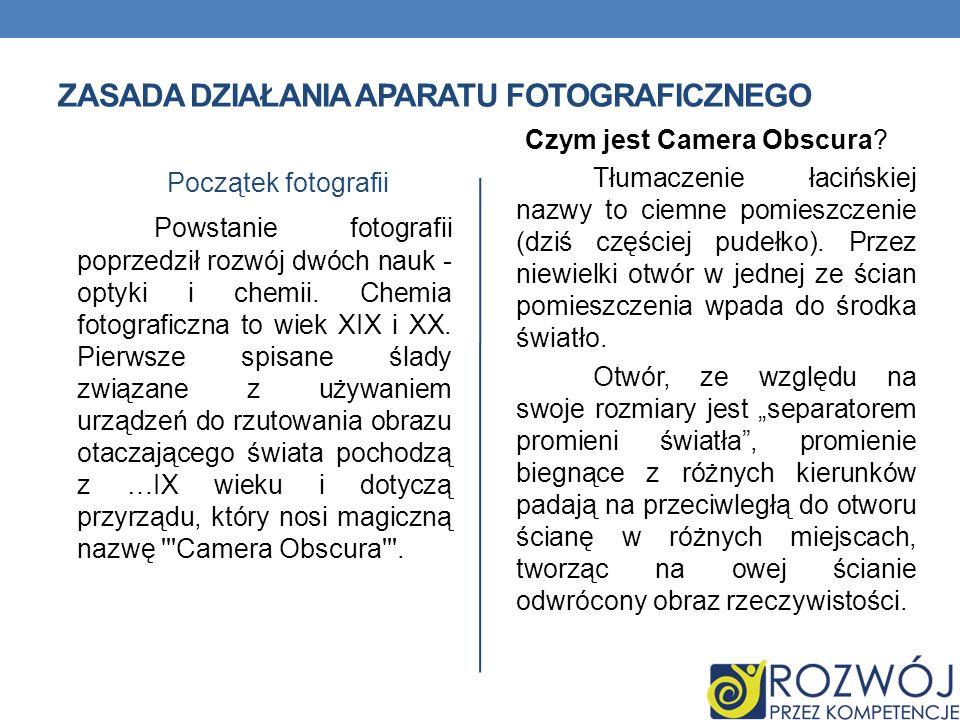 Zasada działania aparatu fotograficznego