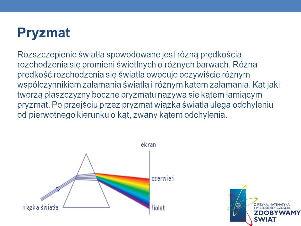Pryzmat Rozszczepienie światła spowodowane jest różną prędkością rozchodzenia się promieni świetlnych o różnych barwach.