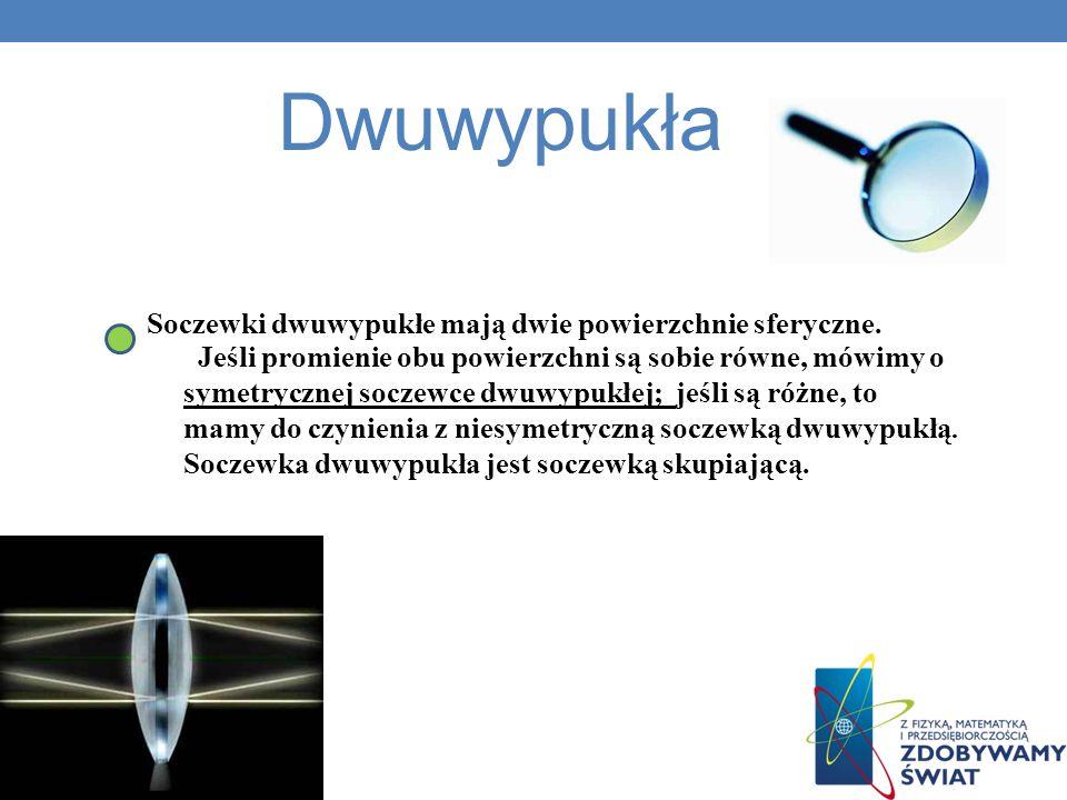 Dwuwypukła Soczewki dwuwypukłe mają dwie powierzchnie sferyczne.