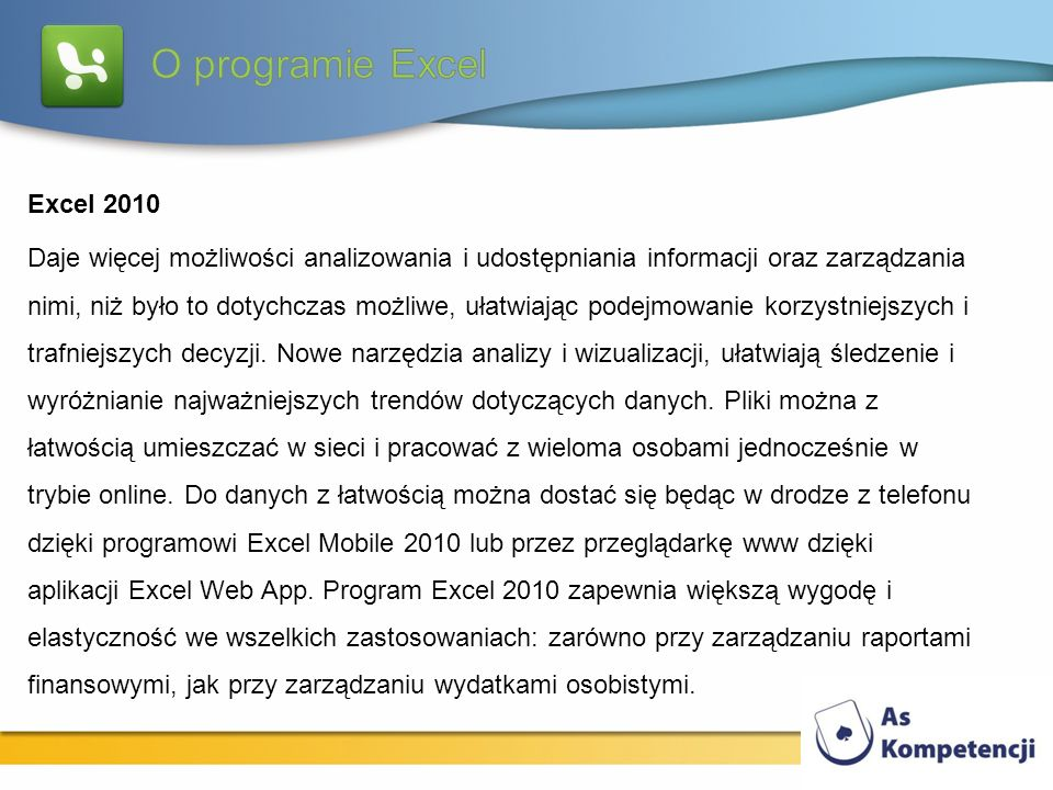O programie Excel Excel 2010