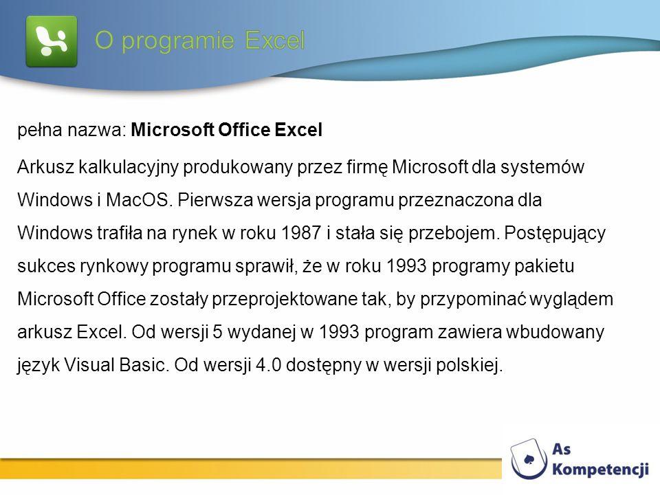 O programie Excel pełna nazwa: Microsoft Office Excel