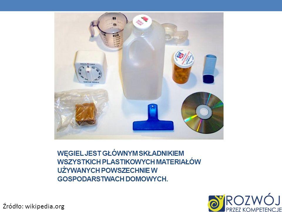 Węgiel jest głównym składnikiem wszystkich plastikowych materiałów używanych powszechnie w gospodarstwach domowych.
