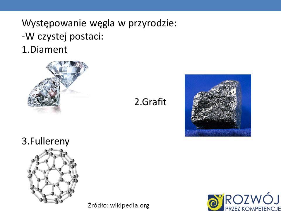 Występowanie węgla w przyrodzie: W czystej postaci: 1.Diament