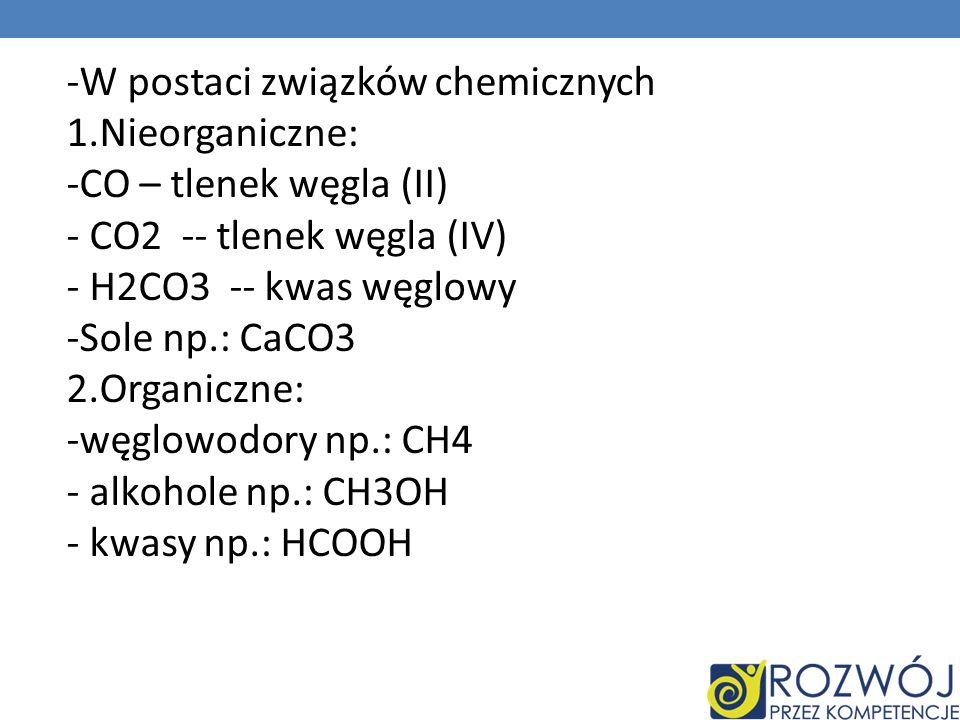 W postaci związków chemicznych