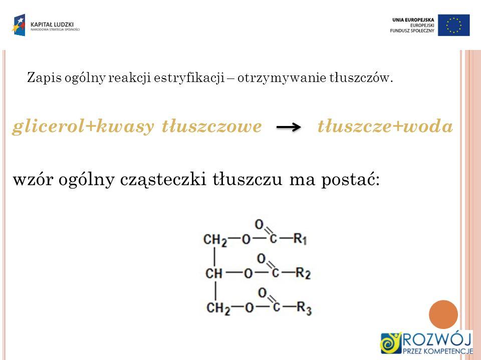 glicerol+kwasy tłuszczowe tłuszcze+woda