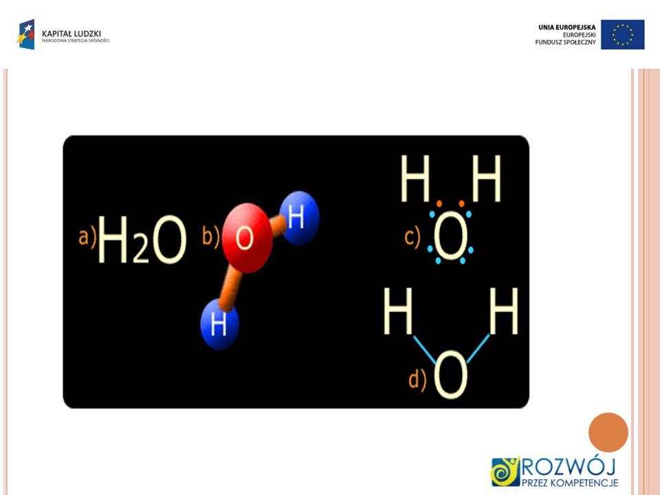 Rys. a) wzór cząsteczkowy b) model cząsteczki c) wzór elektronowy d) wzór kreskowy