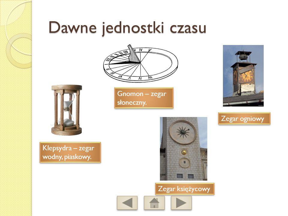 Dawne jednostki czasu Gnomon – zegar słoneczny. Zegar ogniowy