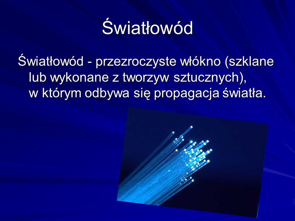 Światłowód Światłowód - przezroczyste włókno (szklane lub wykonane z tworzyw sztucznych), w którym odbywa się propagacja światła.