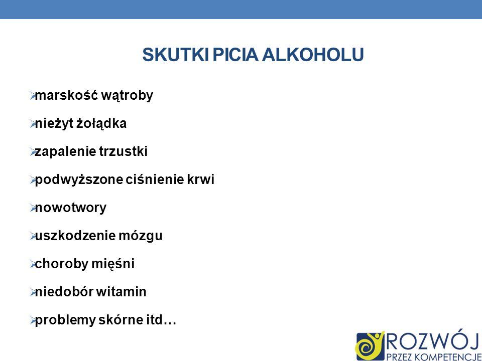 Skutki picia alkoholu marskość wątroby nieżyt żołądka