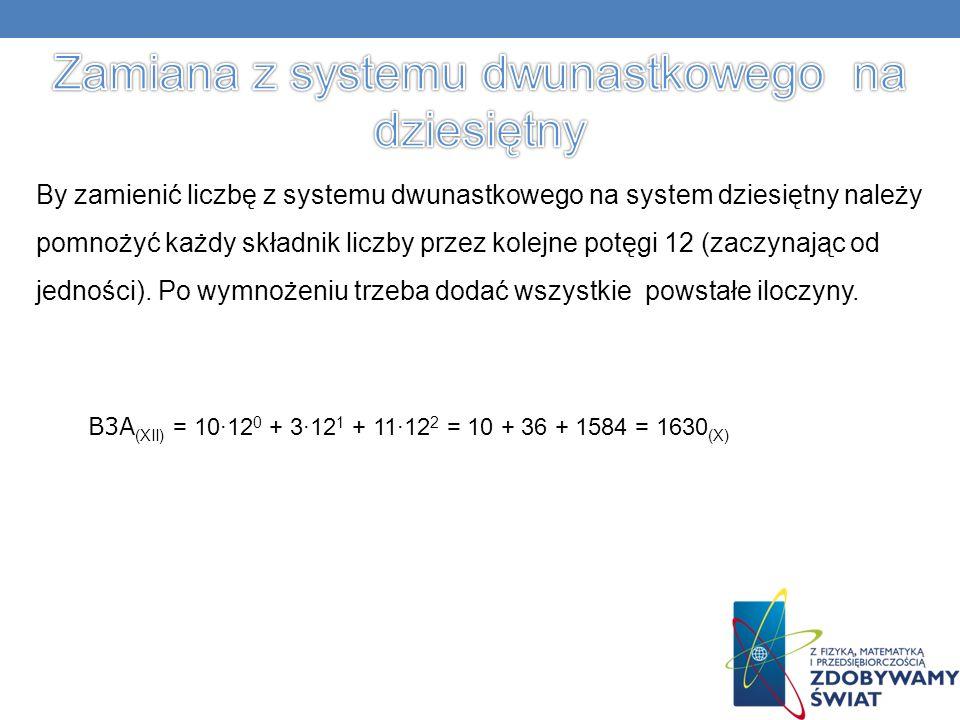 Zamiana z systemu dwunastkowego na dziesiętny