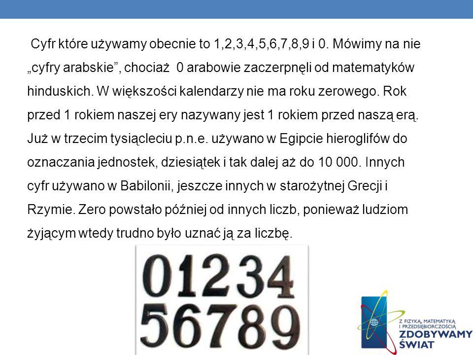 Cyfr które używamy obecnie to 1,2,3,4,5,6,7,8,9 i 0