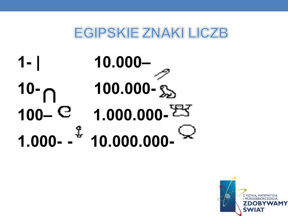 Egipskie znaki liczb 1- | 10.000– 10- 100.000- 100– 1.000.000- 1.000- - 10.000.000-