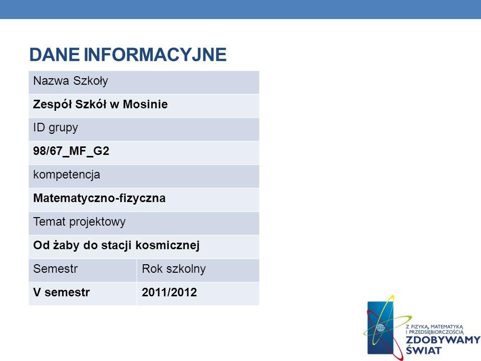 Dane INFORMACYJNE Nazwa Szkoły Zespół Szkół w Mosinie ID grupy