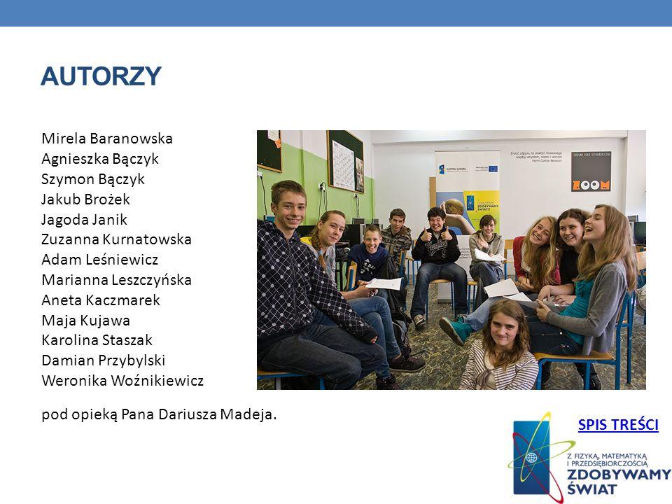 AUTORZY Mirela Baranowska Agnieszka Bączyk Szymon Bączyk Jakub Brożek