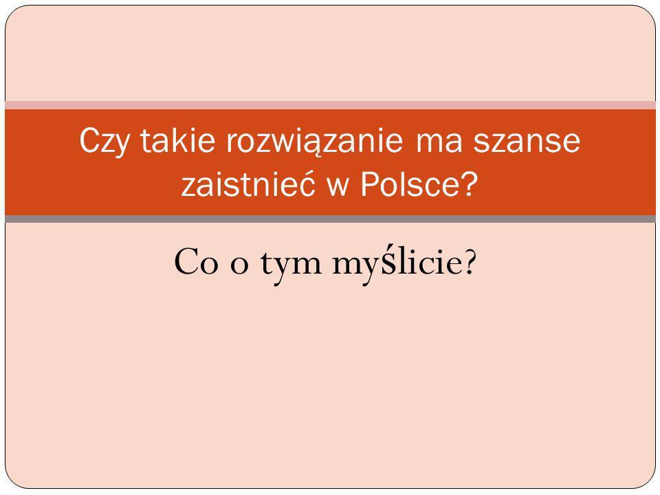 Czy takie rozwiązanie ma szanse zaistnieć w Polsce
