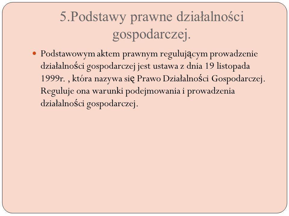 5.Podstawy prawne działalności gospodarczej.