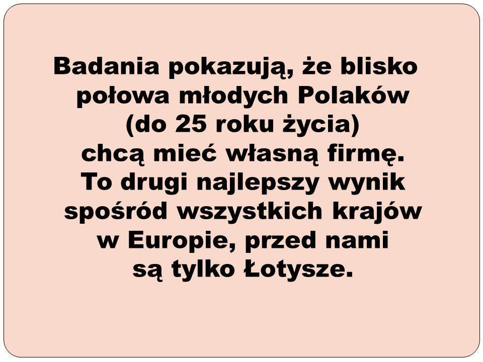 Badania pokazują, że blisko połowa młodych Polaków (do 25 roku życia) chcą mieć własną firmę.