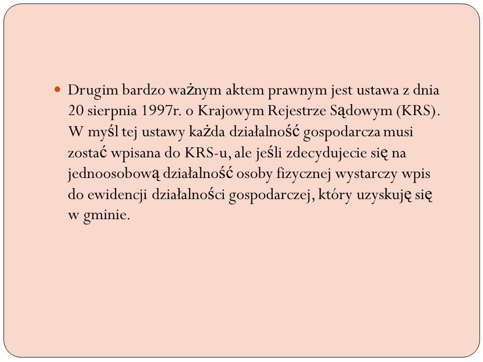 Drugim bardzo ważnym aktem prawnym jest ustawa z dnia 20 sierpnia 1997r.