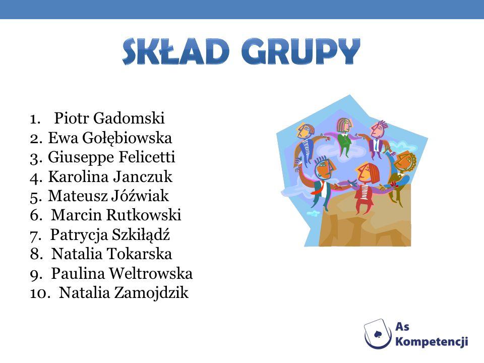 Skład grupy Piotr Gadomski Ewa Gołębiowska Giuseppe Felicetti