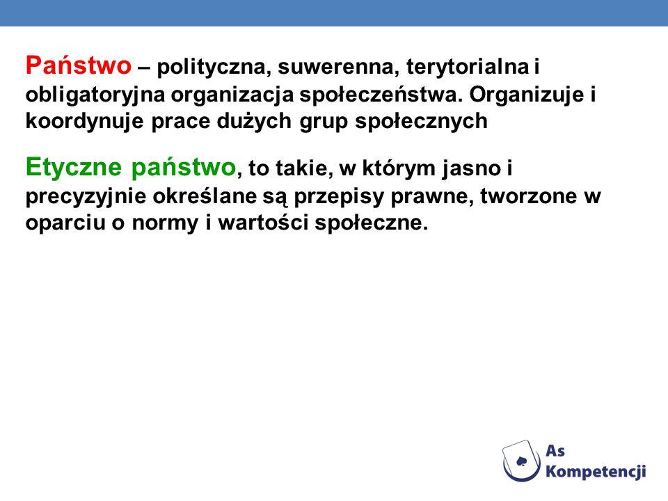Państwo – polityczna, suwerenna, terytorialna i obligatoryjna organizacja społeczeństwa.