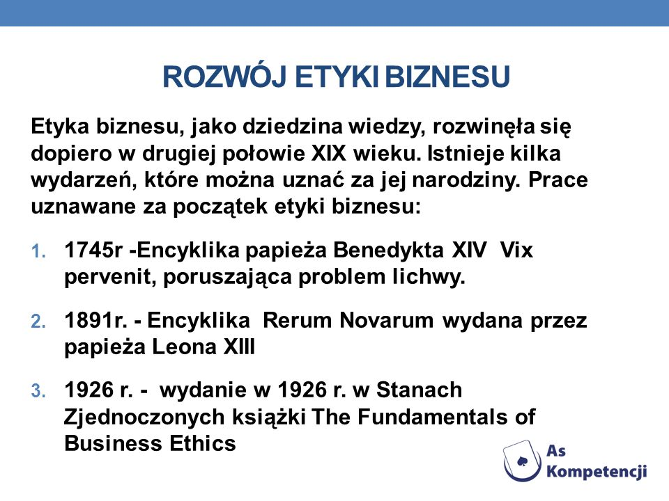 Rozwój etyki biznesu