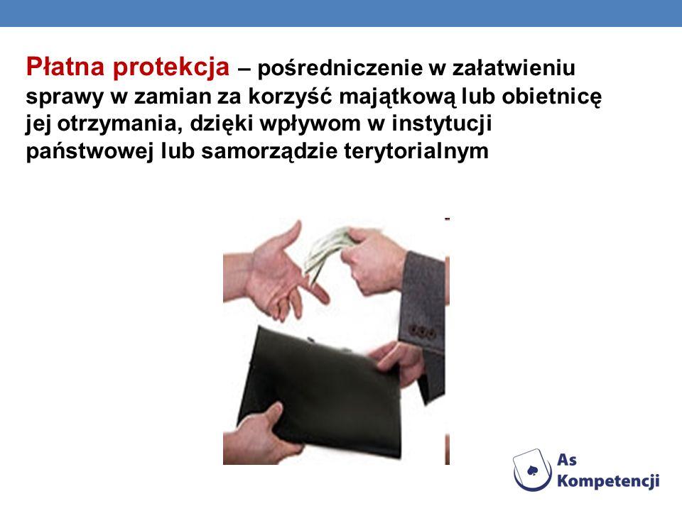 Płatna protekcja – pośredniczenie w załatwieniu sprawy w zamian za korzyść majątkową lub obietnicę jej otrzymania, dzięki wpływom w instytucji państwowej lub samorządzie terytorialnym