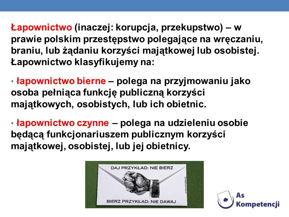 Łapownictwo (inaczej: korupcja, przekupstwo) – w prawie polskim przestępstwo polegające na wręczaniu, braniu, lub żądaniu korzyści majątkowej lub osobistej. Łapownictwo klasyfikujemy na: