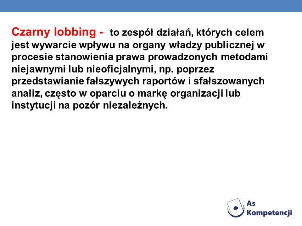 Czarny lobbing - to zespół działań, których celem jest wywarcie wpływu na organy władzy publicznej w procesie stanowienia prawa prowadzonych metodami niejawnymi lub nieoficjalnymi, np.