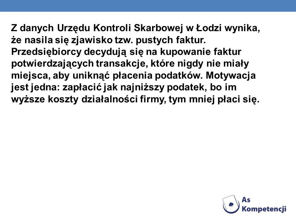 Z danych Urzędu Kontroli Skarbowej w Łodzi wynika, że nasila się zjawisko tzw.