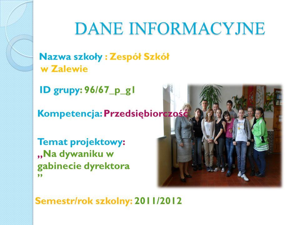 DANE INFORMACYJNE w Zalewie Kompetencja: Przedsiębiorczość