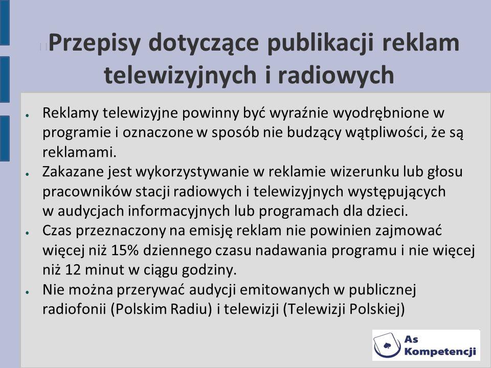 Przepisy dotyczące publikacji reklam telewizyjnych i radiowych