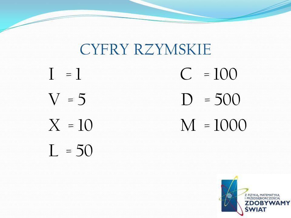 CYFRY RZYMSKIE I = 1 C = 100 V = 5 D = 500 X = 10 M = 1000 L = 50