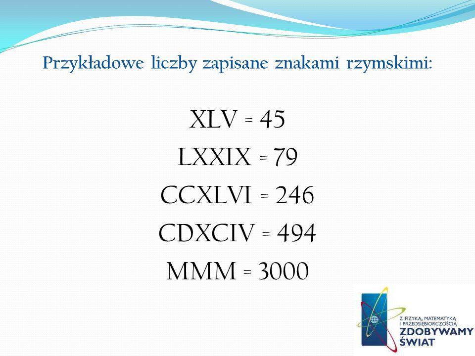 Przykładowe liczby zapisane znakami rzymskimi: