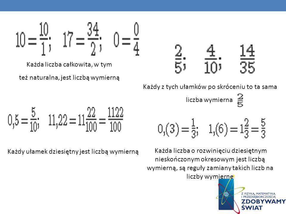 Każda liczba całkowita, w tym też naturalna, jest liczbą wymierną