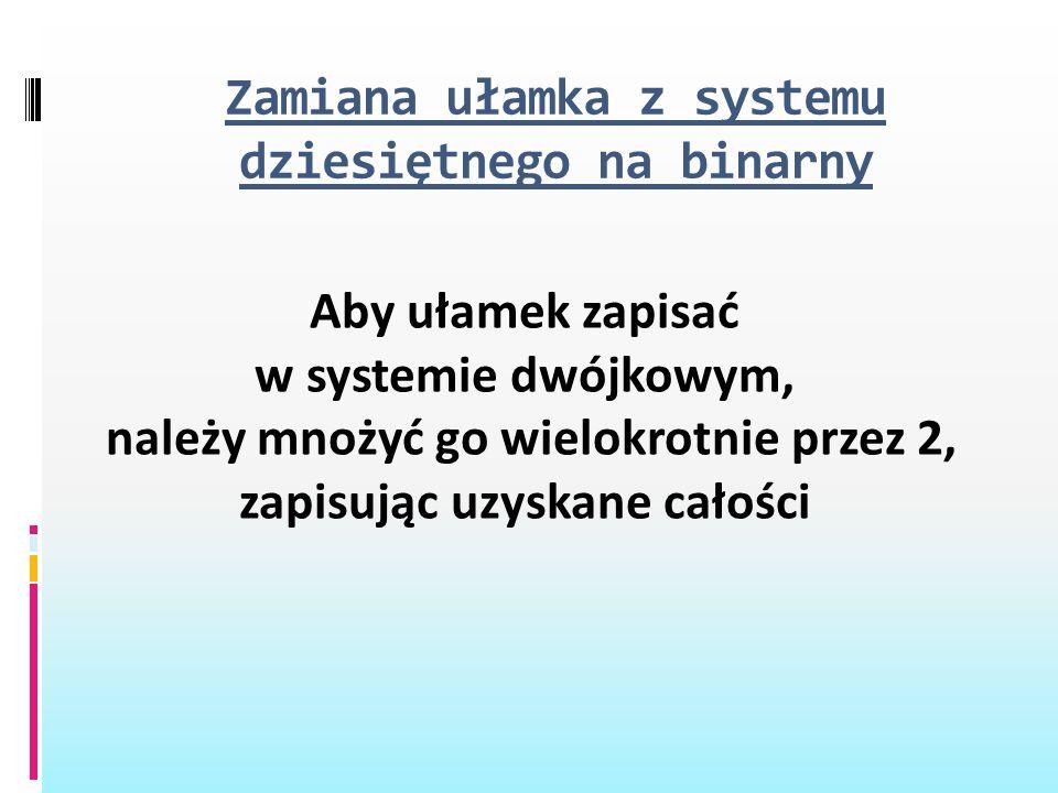 Zamiana ułamka z systemu dziesiętnego na binarny