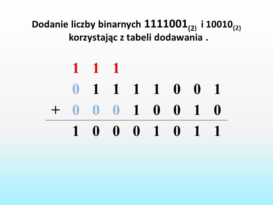 1 + Dodanie liczby binarnych 1111001(2) i 10010(2)